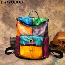 High Quality Patchwork Rucksack Travel Daypack Casual Women Brush Color Bag Retro Knapsack Cowhide Genuine Leather Backpack цена