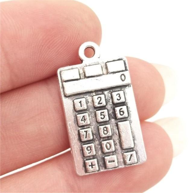 bulk 30 zinc alloy calculator charms school theme teacher gift idea