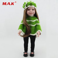 Kid Toys 43cm 17 Inches Baby Reborn Girl Doll Wearing Green Cloak Sweater Black Shoes Bebe Reborn Doll for Children Gift