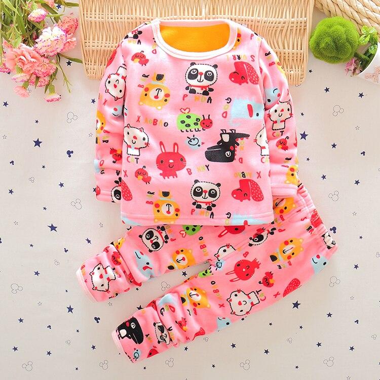 87e49b6d1f32 Cute Animal Characters Pajama Sets Silver Fox Velvet Fabric Baby ...