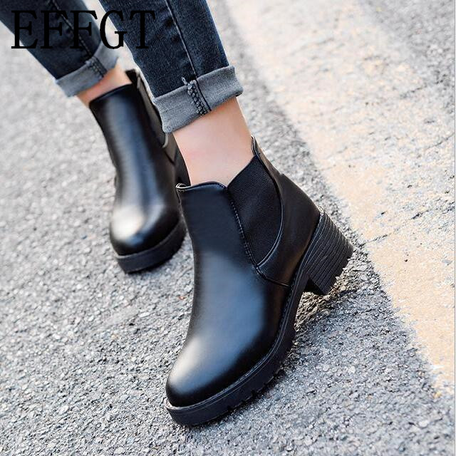 EFFGT Martin Boots Thick-Bottom Waterproof Hot-Style Woman Fashion PU Round-Head