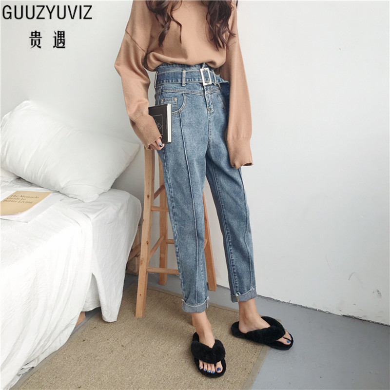 GUUZYUVIZ High Waist Boyfriend   Jeans   For Women Casual Loose Vintage Belt Denim Haren Pants 2018 Spring Big Size Chic   Jeans   Women