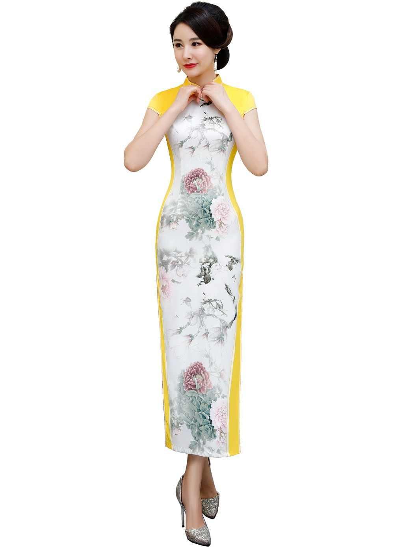 f2738f1662e1 ... Shanghai Story chinese traditional dress Short Sleeve Long Qipao for  Women Faux Silk cheongsam dress with