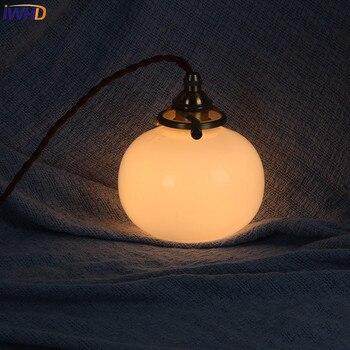IWHD Loft Style LED Pendant Lights Vintage Glass Copper Nordic Hanglamp Simple Modern Suspension Luminaire Retro Home Lighting