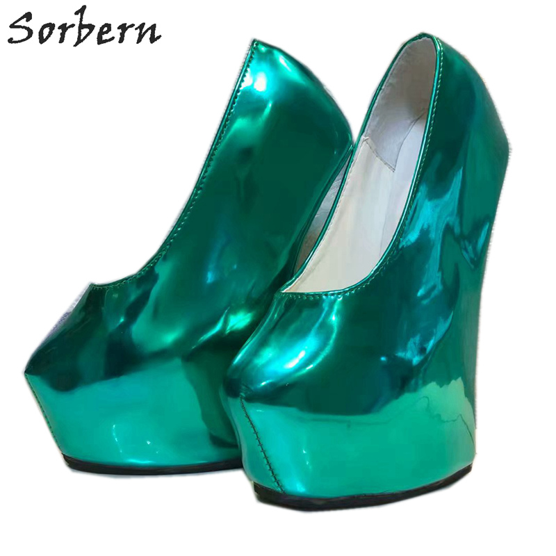 Sorbern Non Heels Women Pumps Shoes Platform Slip On Deep Green Ladies Party Pumps Patent Leather T High Heels For Night Club
