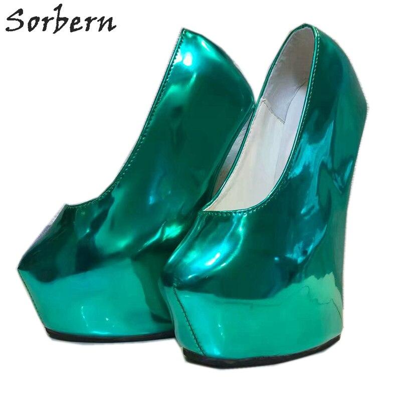 Sorbern Non talons femmes pompes chaussures plate forme sans lacet vert profond dames parti pompes en cuir verni T talons hauts pour boîte de nuit