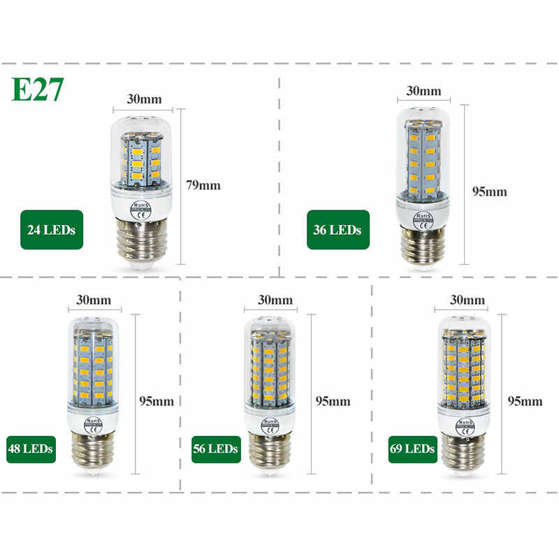 E27 LED Bulb E14 LED Lamp SMD5730 220V Corn Bulb 24 36 48 56 69 72LEDs Ampoule LED Light For Chandelier Candle Home Lighting