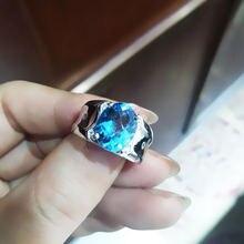 Мужское кольцо с синим топазом j091105agb модные ювелирные изделия