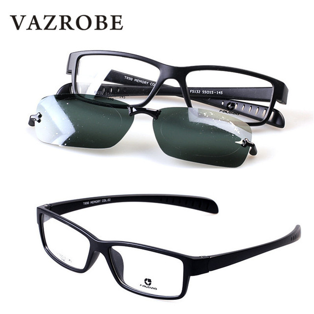 aa151f7400 Vazrobe TR90 Clip on Polarized Sunglasses Men Sport Style Sun Glasses with  Double Lens Anti Glare