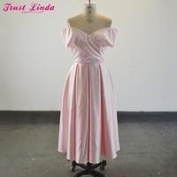 Simple Light Pink Bridesmaid Dresses Off The Shoulder Tea Length Short Party Wear Prom Dresses Custom