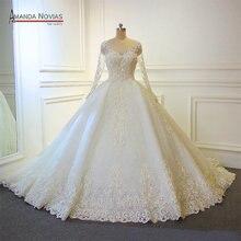 Novo design vestido de casamento 2019 completo beading vestido de noiva de renda de luxo