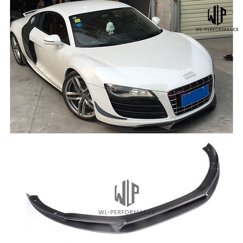 High quality Carbon Fiber Front bumper lip spoiler splitters For Audi R8 V8 V10 Coupe Convertible 2-Door Car styling 08 - 2015