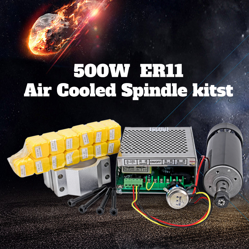 2018 ER11 500W CNC Air Cooling Spindle Motor 52mm Holder Speed Controller