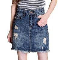 Summer Women Casual Comfortable Burr A Line Denim Skirt Elegant Ladies High Waist Hole Mini Jeans
