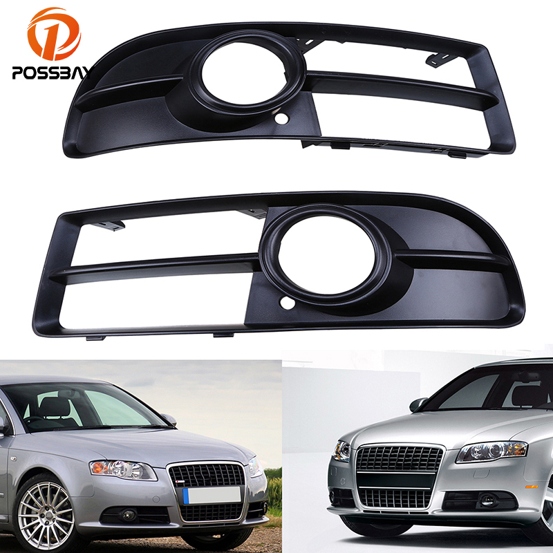 POSSBAY Front Lower <font><b>Grilles</b></font> Car Bumper Fog Light Covers for <font><b>Audi</b></font> <font><b>A4</b></font> <font><b>B7</b></font> Sedan S-Line 2005 2006 2007 2008 Fog Lamp Hood image