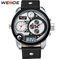 WEIDE Popular Brand Mens Analog Digital Watches Casual Black Leather Strap 30m Waterproof Quartz Movement Wristwatches