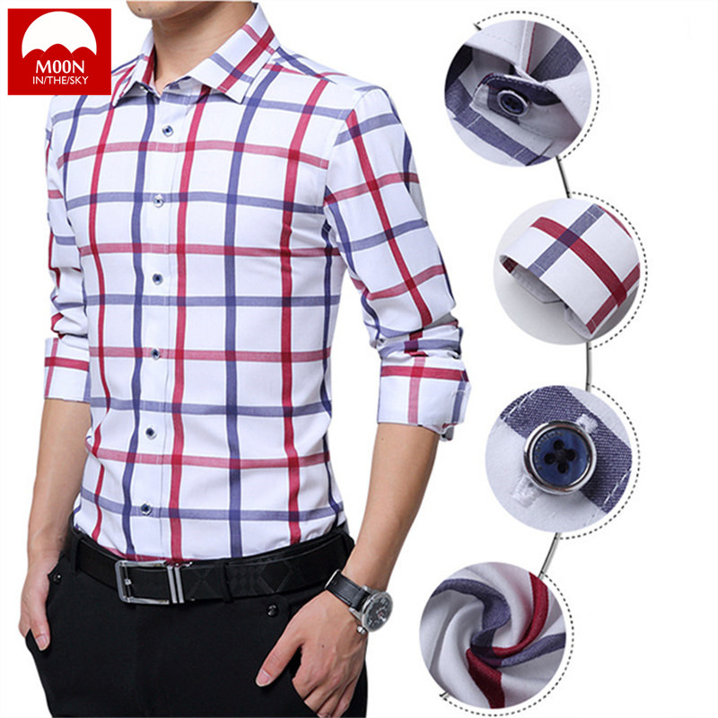 MOON Men Shirts Red And White Check Shirt  Long Sleeve British Style Cotton Men's Shirt CS-008