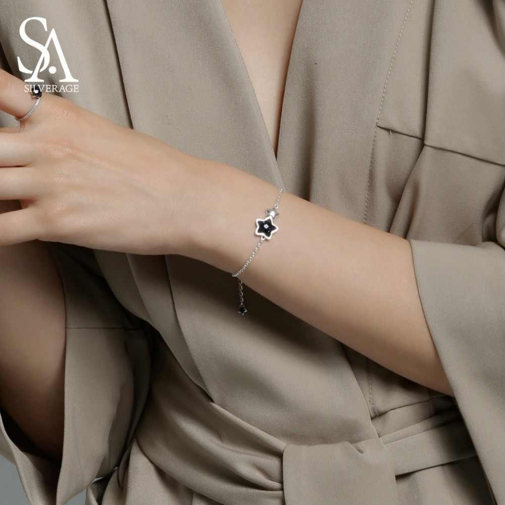 SA SILVERAGE อัญมณีสีดำกำไลและกำไลข้อมือสำหรับผู้หญิง 925 เงินสเตอร์ลิง Aventurine สร้อยข้อมือผู้หญิงเครื่องประดับ Fine