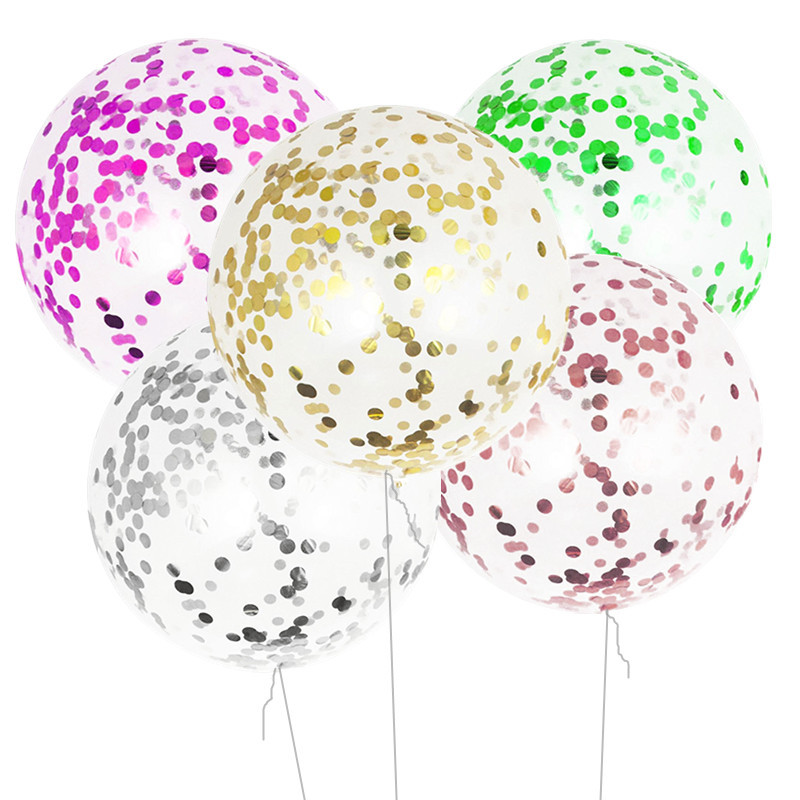 Large 36/18 Inch Foil Confetti Latex Balloons Rose Gold Silver for Bridal Shower Birthday Party Wedding Decor Christmas Balloon