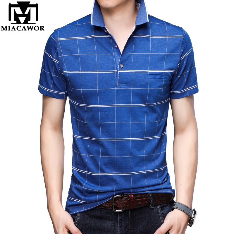 MIACAWOR New   Polo   shirts Men High Quality Men Plaid Tee shirt Homme Summer Short-sleeve Camisa Camisetas Hombre T763