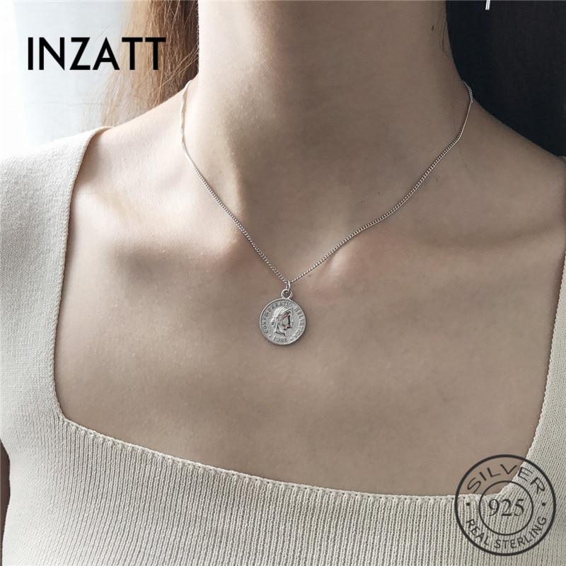 INZATT Dollar Queen Coin Pendant Necklace 925 Sterling Silver Metal Chain Women