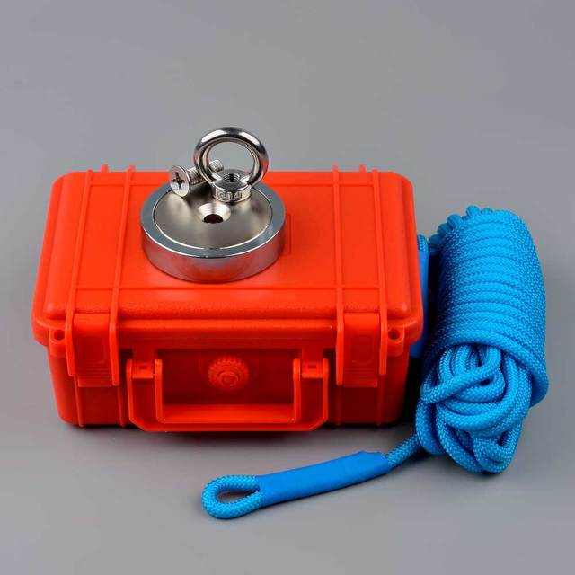300KG D80mm Neodymium Magnet Salvage Search Magnets Fishing Magnetic Tool Rope Box