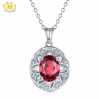 Hutang Natural Gemstone Rhodolite Garnet Solid 925 Sterling Silver Flower Pendant Necklace For Women's Girls' Fine Jewelry