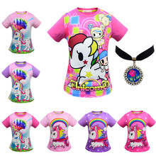 Kids Girl T Shirt Unicorn Party Baby Girls Tops Cute Cartoon Children Clothes Halloween Christmas Cosplay Costumes