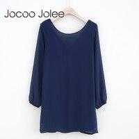 Jocoo Jolee Sexy Back Ren up Ăn Mặc cho Phụ Nữ Mùa Đông Ấm o-cổ Màu Rắn Dress Dài Tay Áo Casual Loose Phong Cách 2017 Mới
