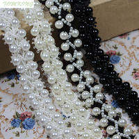 New Brand 20mm 1yd Lot 4 Black And White Pearl Clothes Accessories Beading Lace Collar Handmade