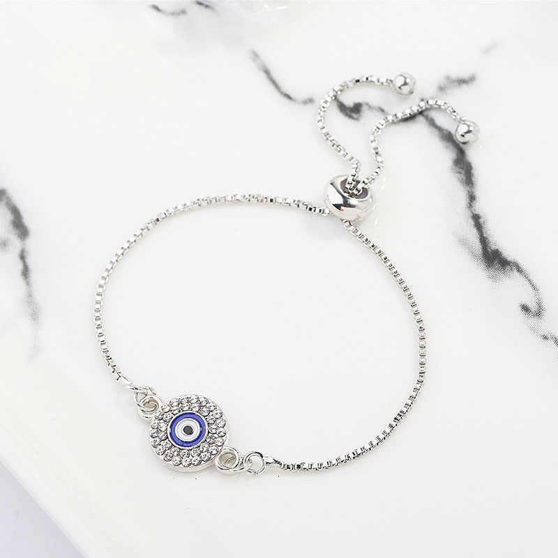 การออกแบบที่เรียบง่าย Evil Eye สร้อยข้อมือทองเงินสี Charm Link Chain ปรับได้สร้อยข้อมือเครื่องประดับคริสตัลหญิงของขวัญ