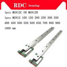 12 мм линейной направляющей MGN12 L = 100 200 300 350 400 450 500 550 600 700 800 линейный железнодорожные пути+ MGN12C или MGN12H длинные квадратный Линейный