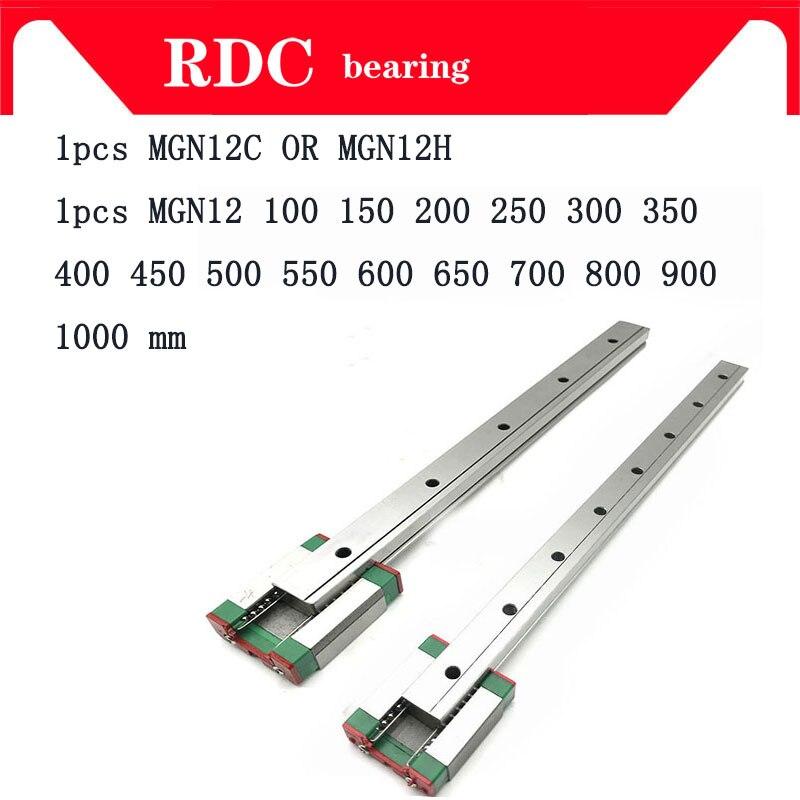 12mm MGN12 Guia Linear L = 100 200 300 350 400 450 500 550 600 700 800mm linear modo ferroviário + MGN12C ou MGN12H Longo transporte linear