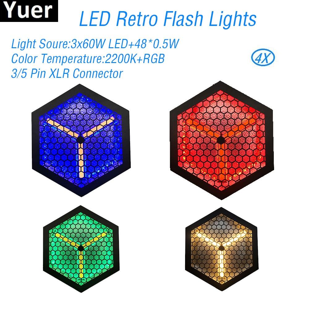 4Pcs/Lot 3x60W LED Retro Flash Lights RGB DJ Equipment Strobe Disco Ball Sound Party Color Music Dance Lights Stage Effect Light