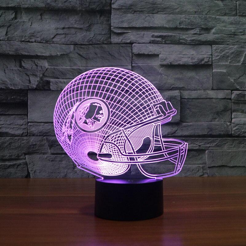 LED night light 3D effect football team helmet Washington Redskins american football