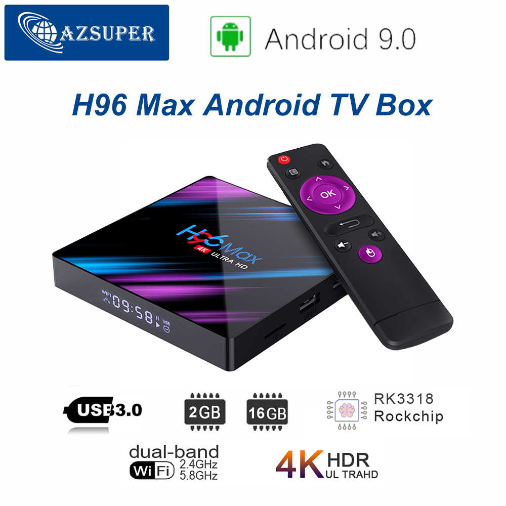 H96 max Smart TV Box Android 9.0 2 GB 16 GB RK3318 1080 p 4 K Wifi Google Play Netflix décodeur lecteur multimédia Android 9.0 TV Box