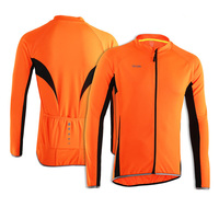 ARSUXEO Men Spring Summer Long Sleeves Jersey Bike Bicycle Cycling Outdoor Sports Running MTB Clothing Orange