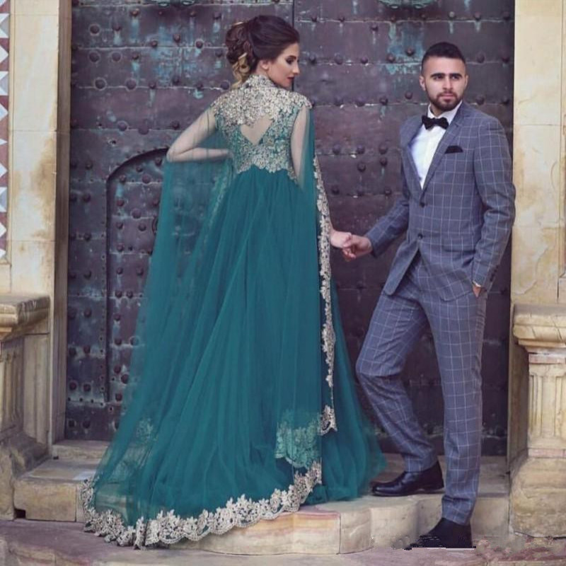 Green Muslim Evening Dresses Tulle golden Appliques with Detachable Cloak Islamic Dubai Saudi Arabic Long Evening Gowns Custom