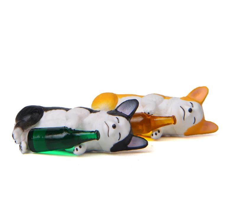 1 Pc Cute Creative wine bottle Corgi Dog Action Figure Toy Cartoon Animal dog Model PVC Ornament Doll Toys gift-1