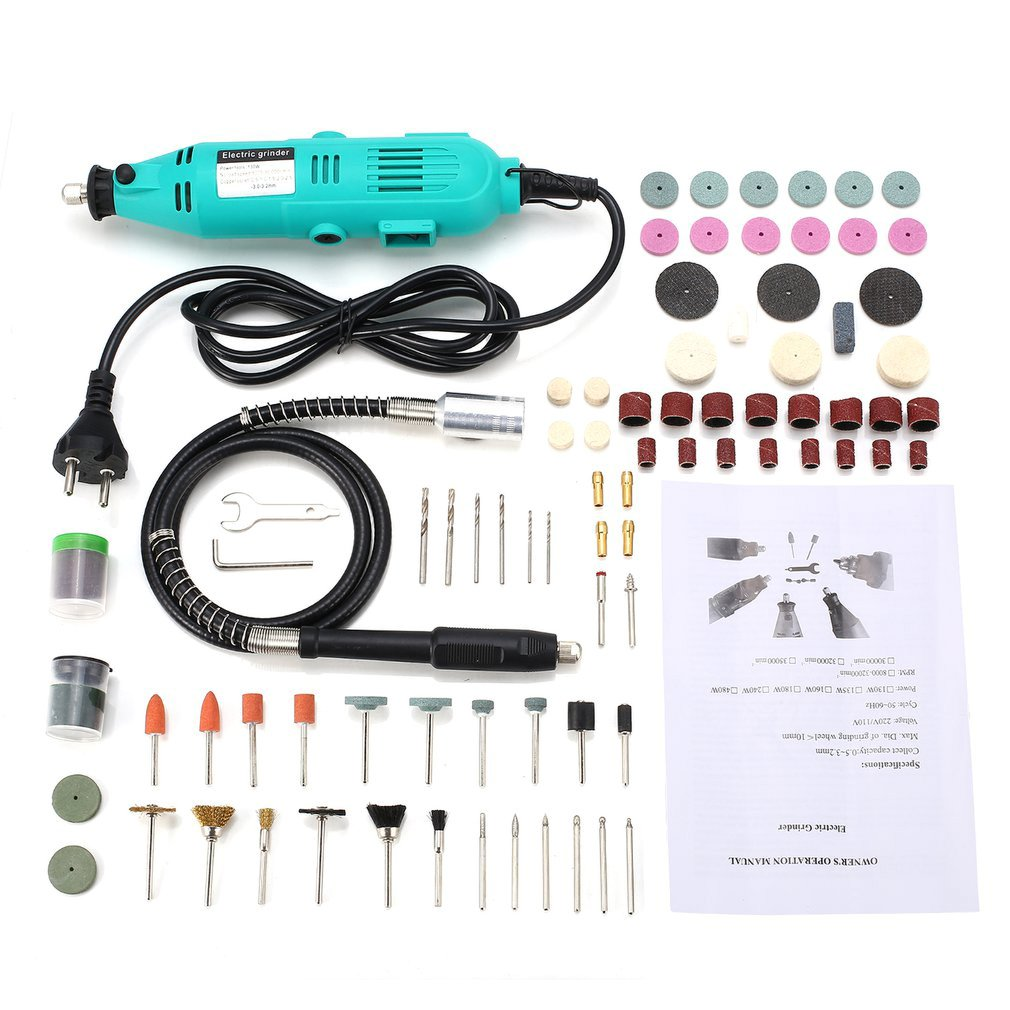 Electric Drill Mini Grinder Variable Speed Drilling Engraving Polishing DIY Power Rotary Tool Kit Engraver Pen with Flex ShaftElectric Drill Mini Grinder Variable Speed Drilling Engraving Polishing DIY Power Rotary Tool Kit Engraver Pen with Flex Shaft