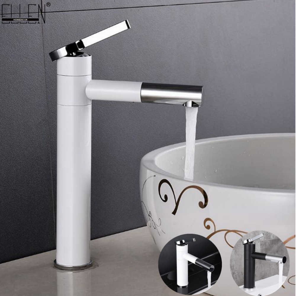 Basin Mixer Tap 360 Degree Rotate Type Basin Faucet White and Silver chrome Tall Bathroom Sink