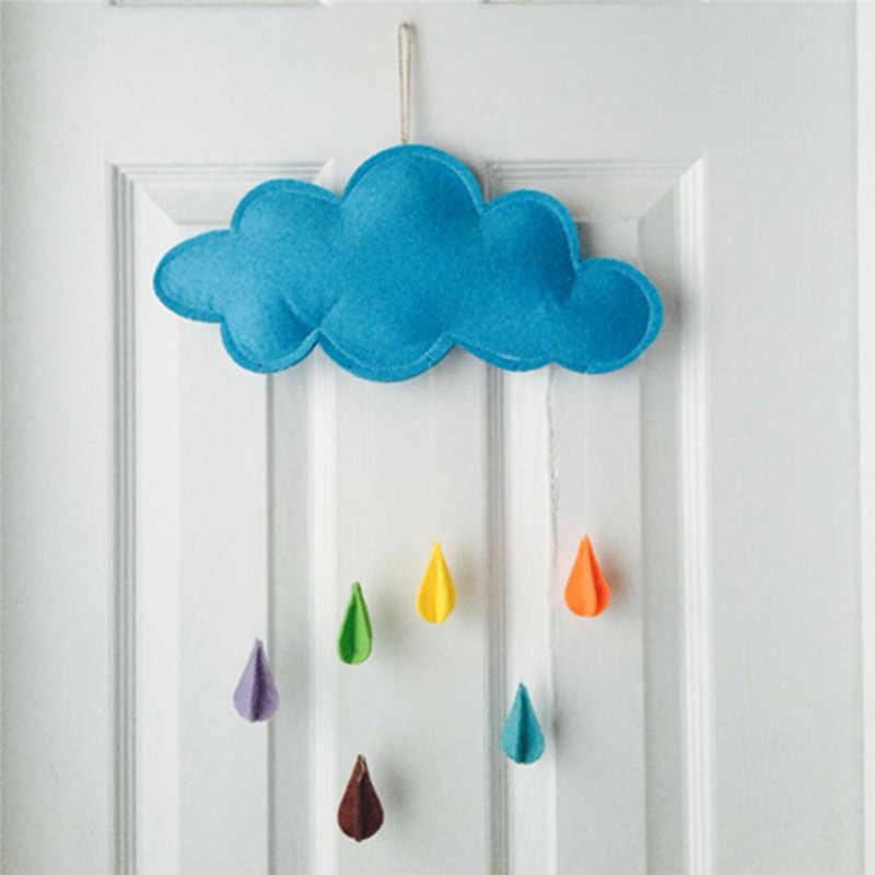 Bebé colgando juguete niños jugar tienda decoración utilería juguete lluvia nubes gota de agua/Estrella Luna bebé cama campanas MANO