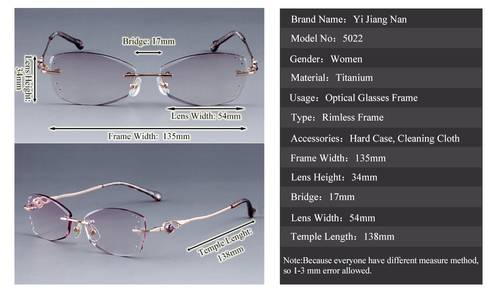 d45f326717a2 Yi Jiang Nan Brand Diamond Trimmed Rimless Titanium Eyeglasses Frames Women  Fashion Glasses Rhinestone Purple Lenses