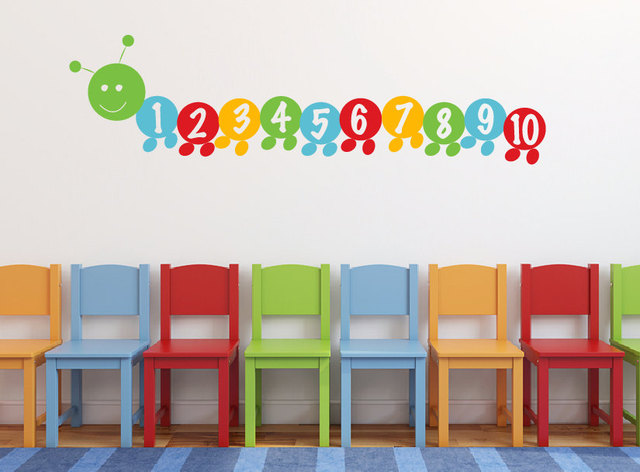 Very Hungry Worm Number Stickers Counting Number Decals Childrenu0027s Wall  Decal For Kids Playroom Wall Decal