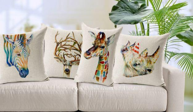 Animal Cushion Covers Sofa Pillowcases Decorative Throw Pillows Home Decor Vintage Burlap Cotton Linen Deer Zebra