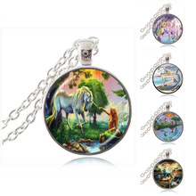 Ocean Unicorn and Mermaid Photo Necklace Cabochon Glass Pendant Chain Sweater Necklace for Women Fashion Accessory HZ1