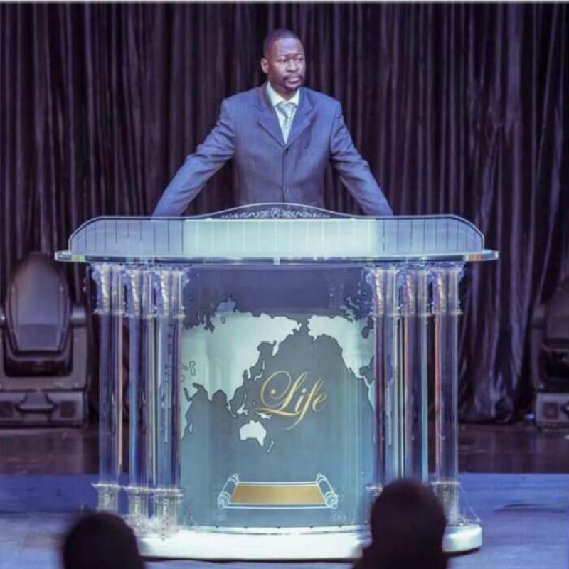 Modern Clear Acrylic Podium Lectern (Traditional) Crystal Pillars Church Pulpit, Bishop Pulpit. Acrylic Speech Lectern fixture displays clear acrylic plexiglass podium curved aluminum sides pulpit lectern