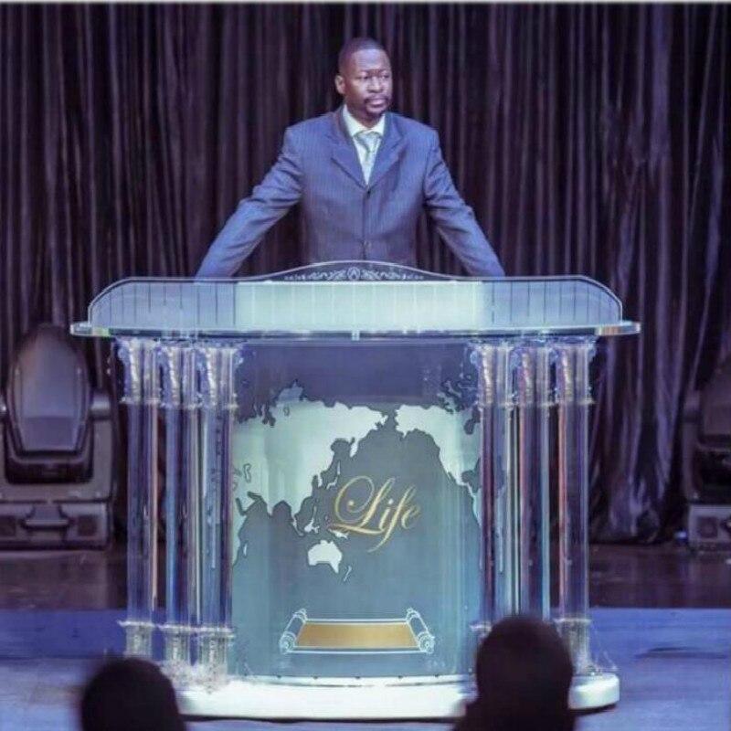 Kristall Säulen Kirche Kanzel Temperamentvoll Modernen Klaren Acryl Podium Rednerpult Bischof Kanzel traditionellen Acryl Speech Rednerpult