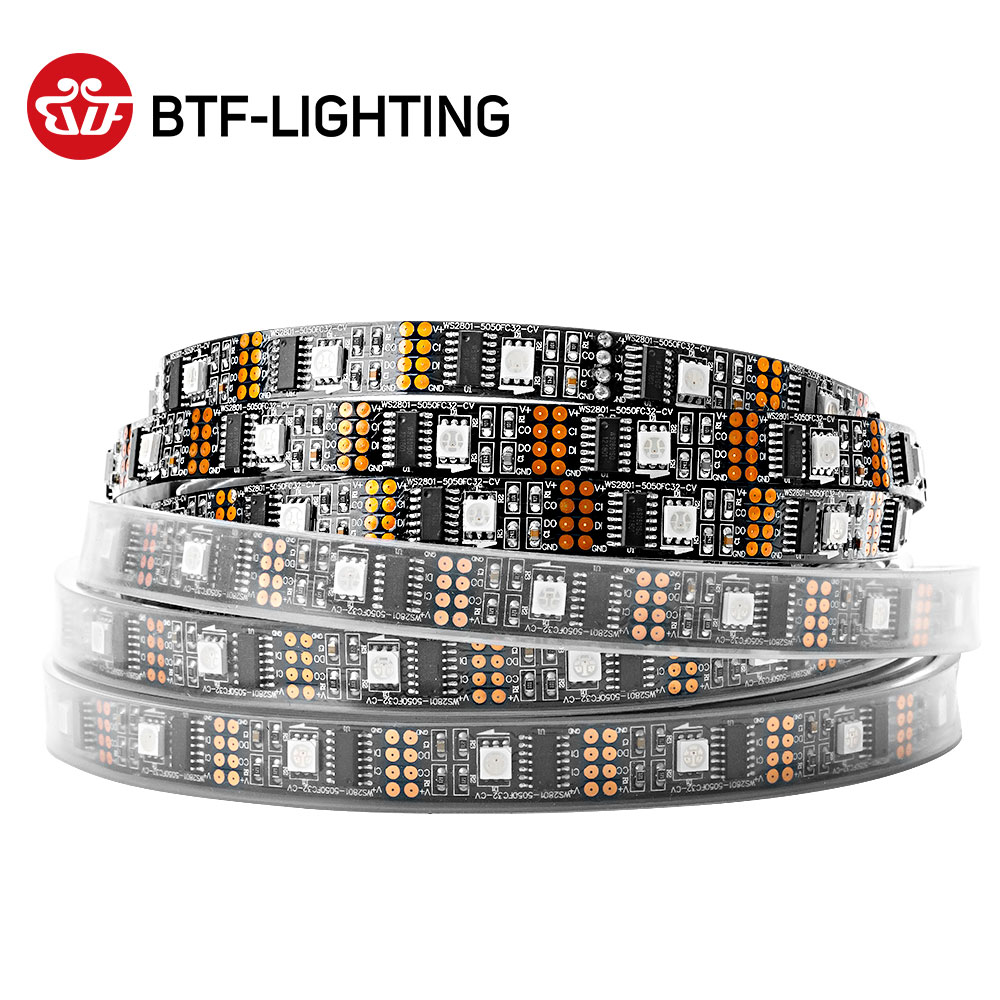 1m 2m 3m 4m 5m WS2801 RGB Led Strip 32 Pixels/leds/m Fast DATA & CLOCK Individual Addressable Black/White PCB IP30/67 DC5V