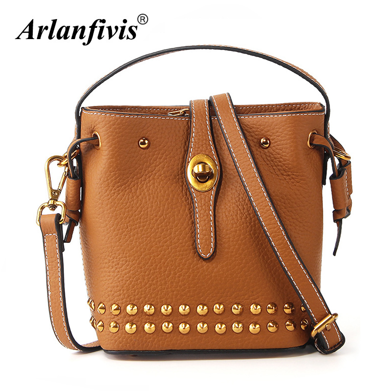Arlanfivis Genuine Leather Fashion Small Crossbody Bags Women Leather Handbag Rivet Bucket Mini Bolsa Purse Quality Luxury Bag lydian fashion small bucket bags 2018 new handbag women messenger bag shoulder bag rivet vintage brown purse tote bolsa pequena
